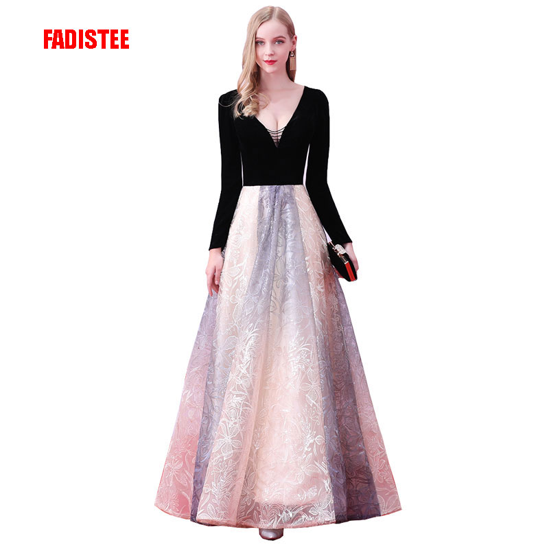 FADISTEE New arrival elegant party   dress     evening     dresses   Vestido de Festa lace gown velour V neck prom   dress   long sleeves
