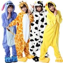PSEEWE фланелевые зимние пижамы для девочек для Женщин Единорог панда  стежка комбинезоны пижамы с животными для взрослых косплэй унисекс домашняя  одежда ... 0c0343a25f466