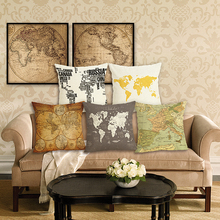 Hot sale  map of world Printed cotton linen throw pillows Sofa Cushion Cover Home decor 45X45cm cojines decorativos para sofa