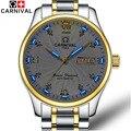 Carnival trítio luminosa série relógios dos homens top marca de relógio mecânico automático de negócios de luxo vidro de safira à prova d' água