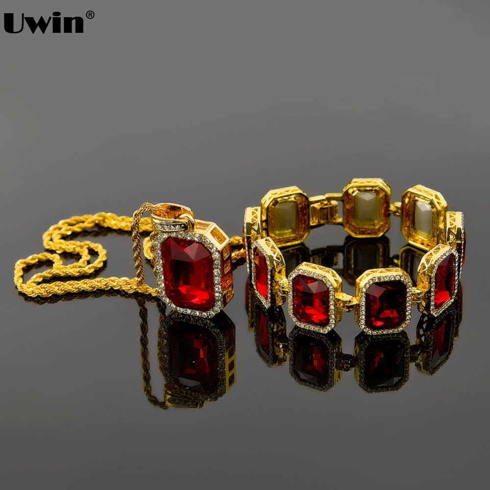Mens Iced Out Hip Hop Gold Color Red Stone Bracelet & Pendant Necklace Set Bling Bling Pendants For Men 2016 High Quality high quality box chain 600 simulated diamonds 70mm jesus christ the redeemer bling hip hop mens necklace
