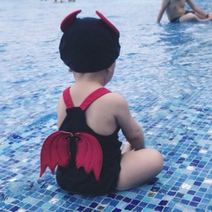 Baby Girls Clothes Black Devil Swimwear+Hat 2pcs Set Kids Children Infant Swim Suit Spa Bathing Summer Beach Clothing Costume