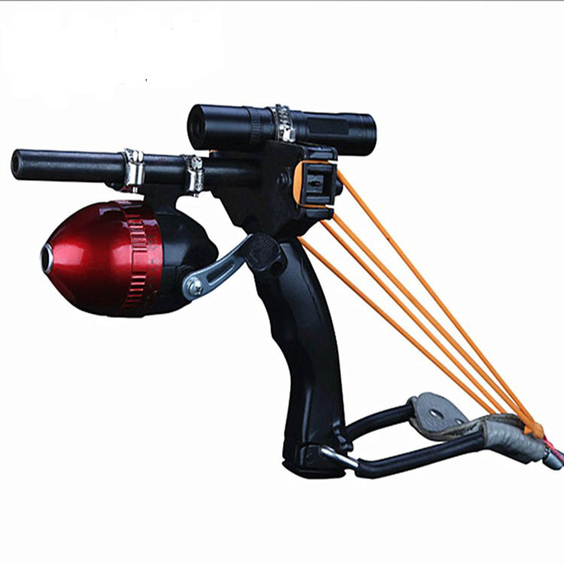все цены на Free shipping Fish Slingshoot lazer light Hunting Fishing Slingshot set Shoot Bow Tool No battery онлайн