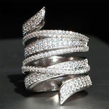 Hyperbole Luxury Brand Party Full Rhinestone Leaves Wedding Rings For Women Engagement Ring Jewellery