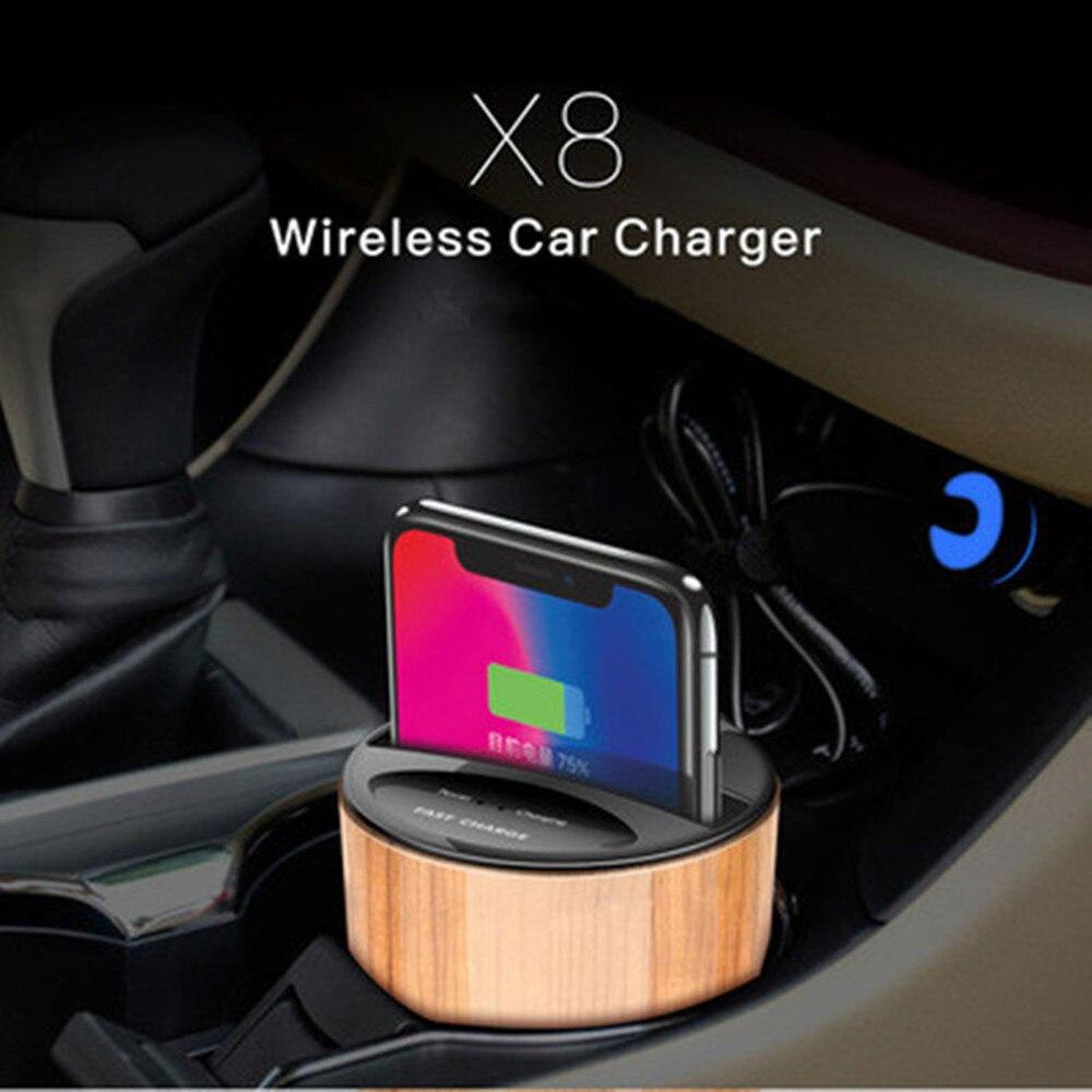 X8 Qi Voiture Coupe Chargeur Sans Fil En Bois Grain Tasse Téléphone support de Support de Tasse Sans Fil Dock De Remplissage Rapide pour QI téléphones Intelligents compatibles