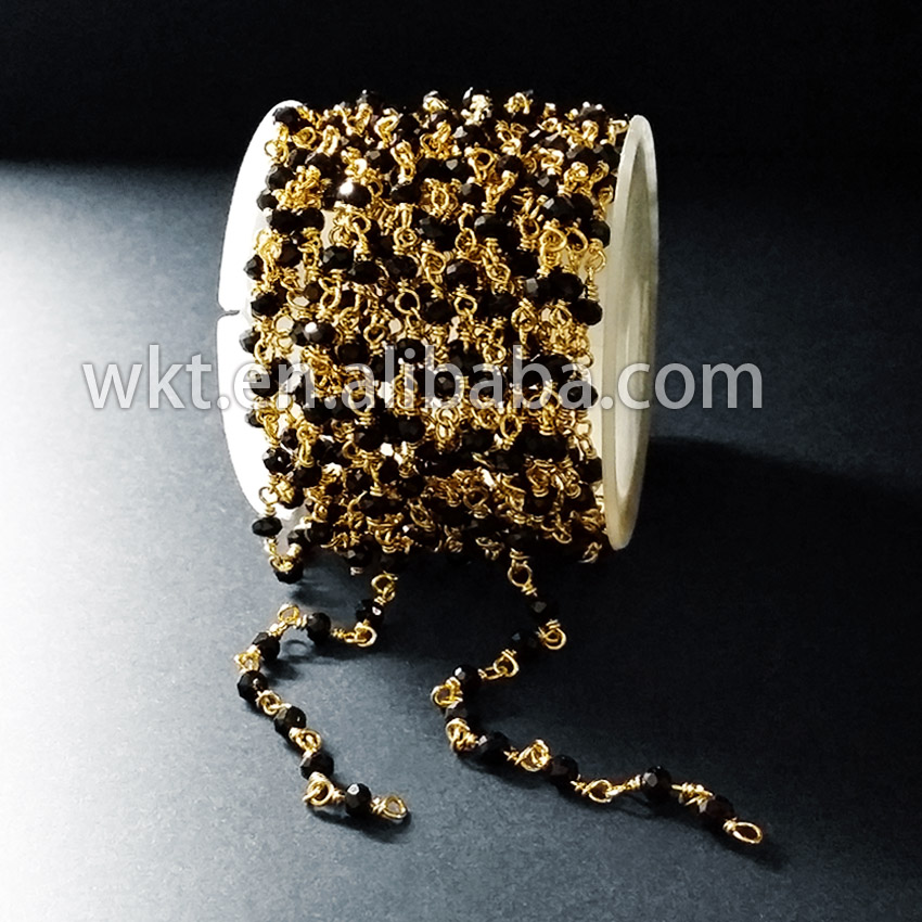 WT RBC024 Natural gold Trim wire wrapped handmake black beads chain High Quality Stone