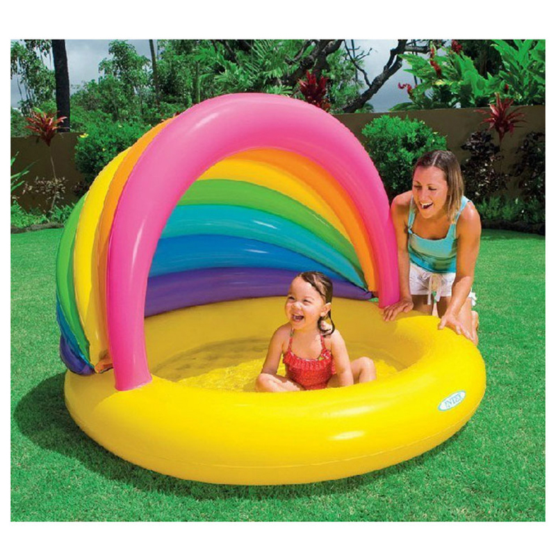 Large Size Inflatable Children Family Bathtub Rainbow Cartoon Style Sunscreen Swimming Water Pool Piscina Bebe zwembad A201 multi function large size outdoor inflatable swimming water pool with slide home use playground piscina bebe zwembad
