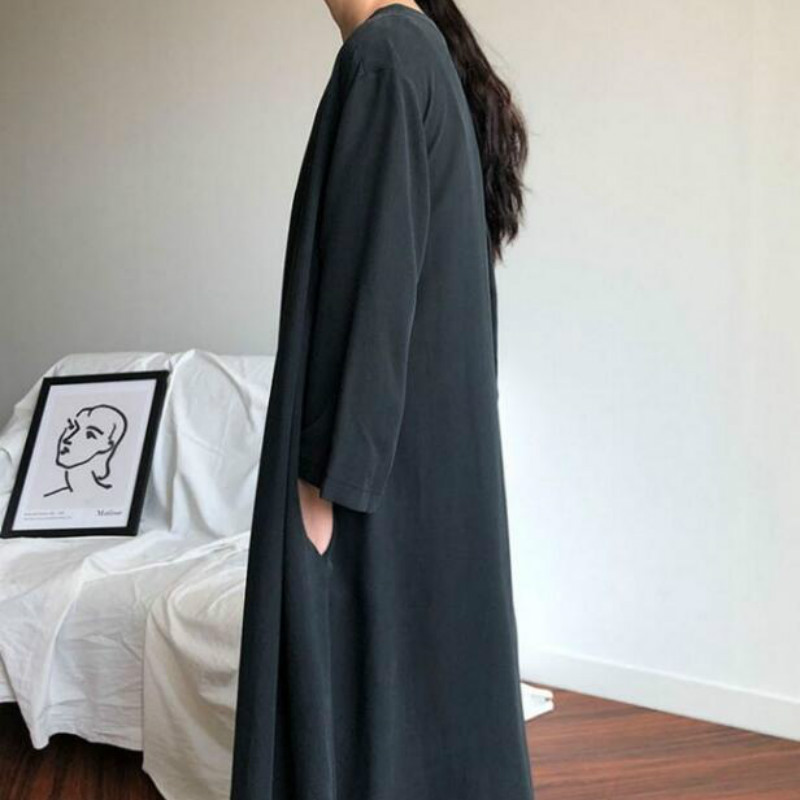 Women Korean Autumn Long Shirt Dress Sexy V-neck Full Sleeves Vestido with Belt Vintage Plus Size Robe Femme Elegant Longue 1