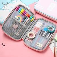 Kawaii Large Capacity Korea Pu Leather Pencil Case School Stationery Pencil Bag Portable Travel Toiletry Organizer Passport Bags