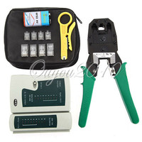 Portable LAN Network Tool Kit Utp Cable Tester AND Plier Crimp Crimper Plug Wire Stripper Heads
