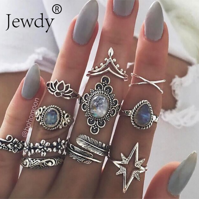 Jewdy Jewelry Gypsy-Rings-Set Knuckle Boho-Rings Crystal Silver-Color Leaf Geometric