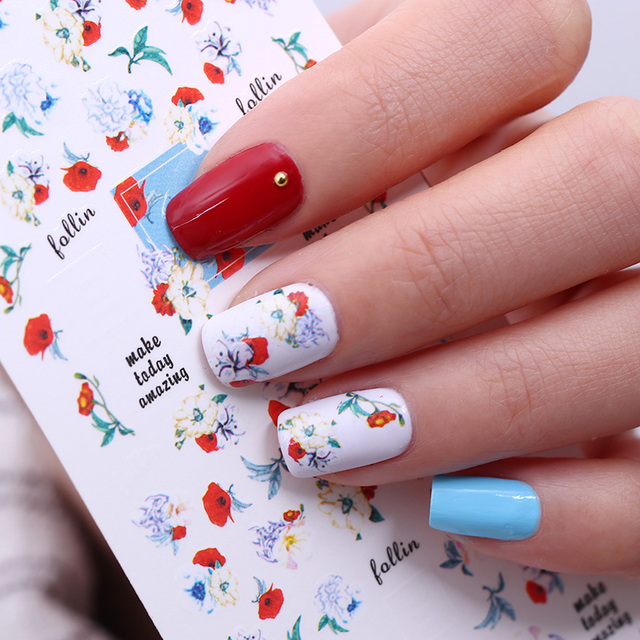 Graphical Flower Nail Water Decal English Letter Nail Art Transfer