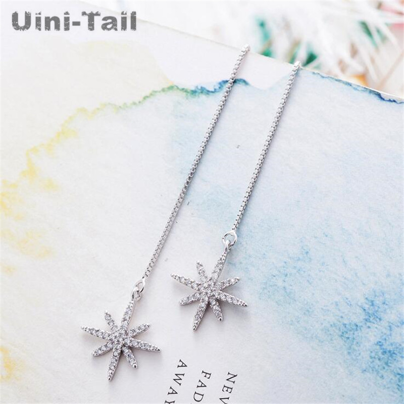 Uini-Tail hot new 925 sterling silver tassel long star earrings Korea simple temperament fashion ear line high quality GN394