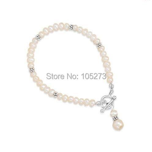 Superbe Rare 10 brins de perles de rocaille 925 Bracelet en argent fermoir à glissière AA 5-6 MM blanc perle d'eau douce Bracelet nouveau livraison gratuite
