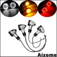 Motorcycle 2 in 1 LED Front Turn Signals w/ Day Light Blinkers 3 in 1 Rear Turn Signal Light Indicators w/ Brake Tail Light M10