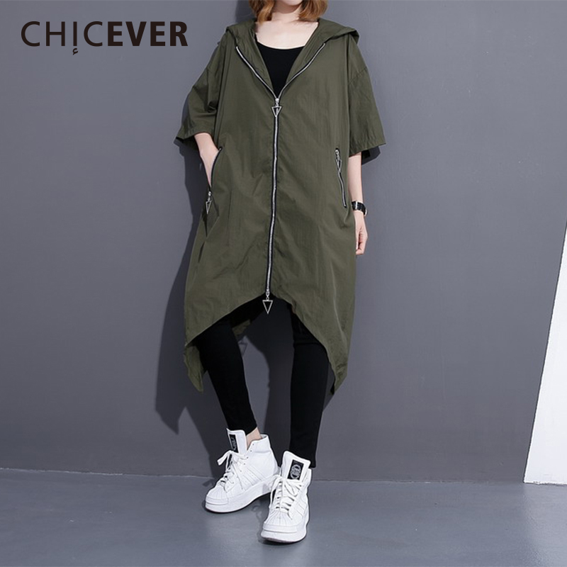 CHICEVER Asymmetric Length Womens Windbreaker Hooded Three Quarter Sleeve Zipper Long Coat Female Back Striped 2018 Fashion New