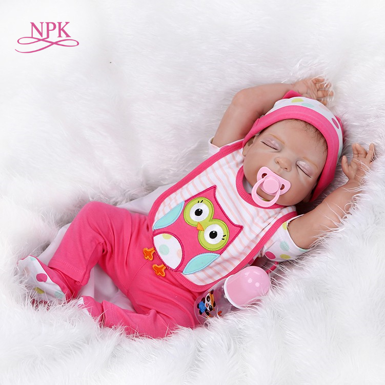 NPK 55cm Soft silicone reborn baby doll toys play house toys girl doll handmade lifelike fashion gifts for collection