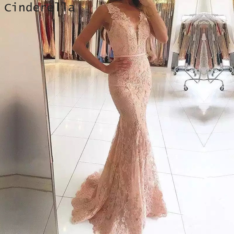 Cinderella Pink Color V-Neck Mermaid Lace Applique Soft Tulle   Prom     Dresses   Covered Button Lace   Prom   Gowns Vestidos de baile