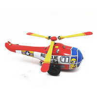BEIOUFENG Vintage Clockwork Toys Helicopter Tin Toy Handmade Airplne Design Wind Up Toys With Clockwork Brinquedos