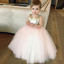 Bbonlinedress Pink color Ball Gown Flower Girl Dress 2019 with Bowknot Sequins Wedding Party Robes de fille fleur