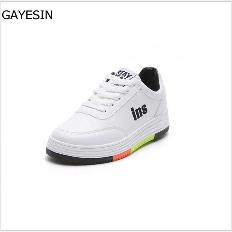 New Fashion women spring autumn sneakers leisure shoes flats genuine PU leather lace up loafers casual shoes for women white H16