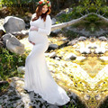 Accesorios de fotografía de maternidad vestidos de manga larga de algodón de embarazo Vestido de estilo de la sirena bebé ducha embarazo Plus tamaño vestido de