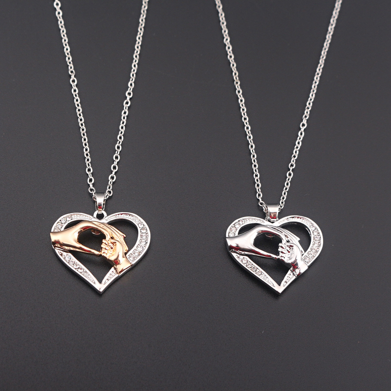 RJ New Fashion Silver Mom Baby Hand in Hand Heart Necklaces Pendants High Quality Mother Ladys Women Necklace Mother's Day Gift image
