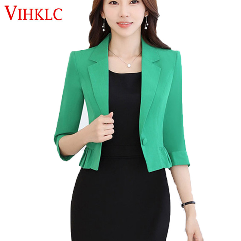 Suits & Sets 2019 Spring Blazer Feminino Stand Neck Design Blue Korean Print Slim Women Office Work Suit Female Jackets Plus Size 3xl Blazers