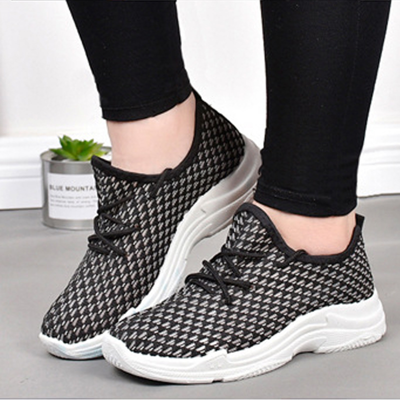645834cbc20 New Women Shoes Fashion Sneakers Flats Platform Casual Loafers Woman Air  Mesh Flyknit Lace-up Student Best Sellers Tennis Shoes