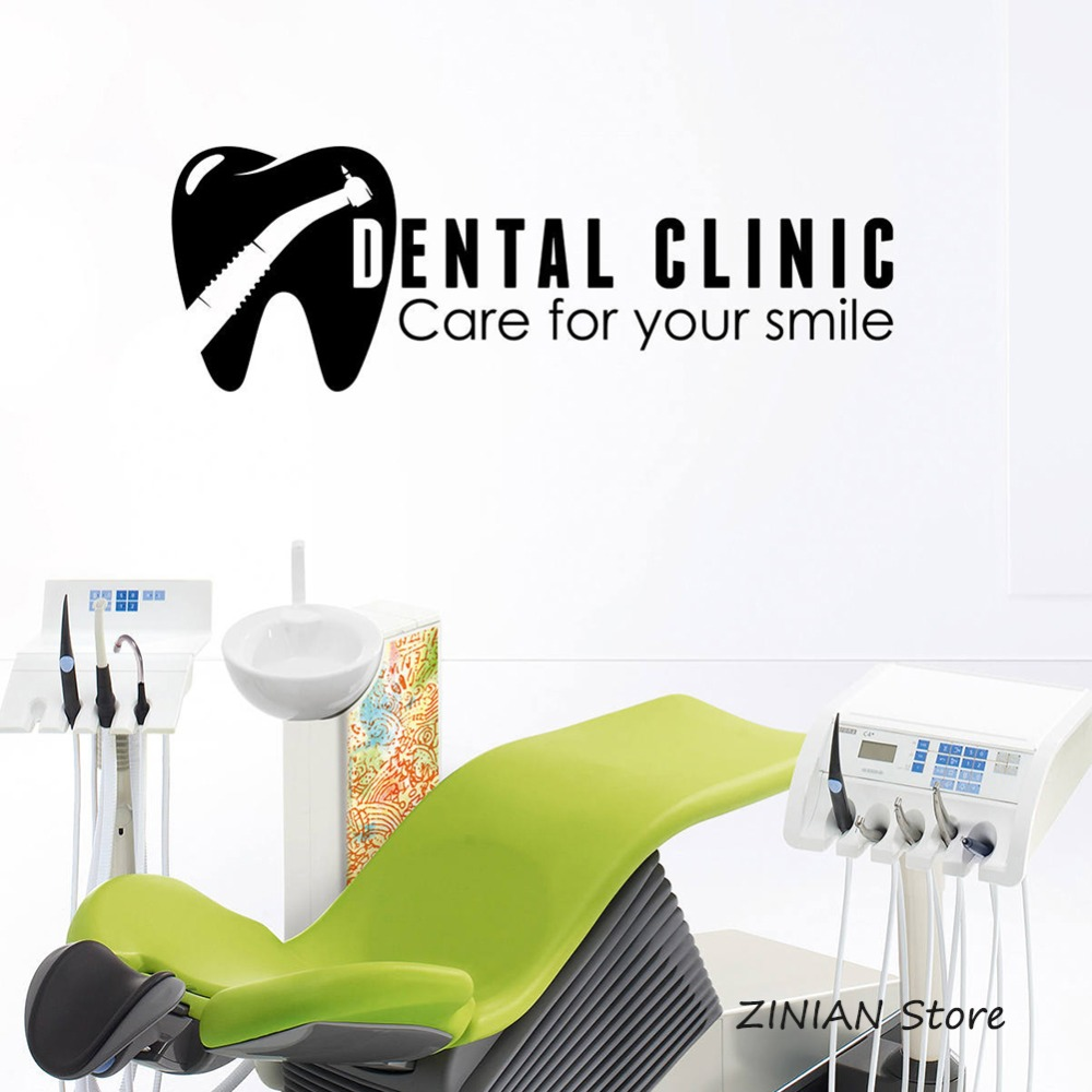 Dental Clinic Logo Vinyl Wall Decal Stomatology Sign Window Sticker Tooth Healthcare Wall Art Decoration for Office Dentist Z024(China)