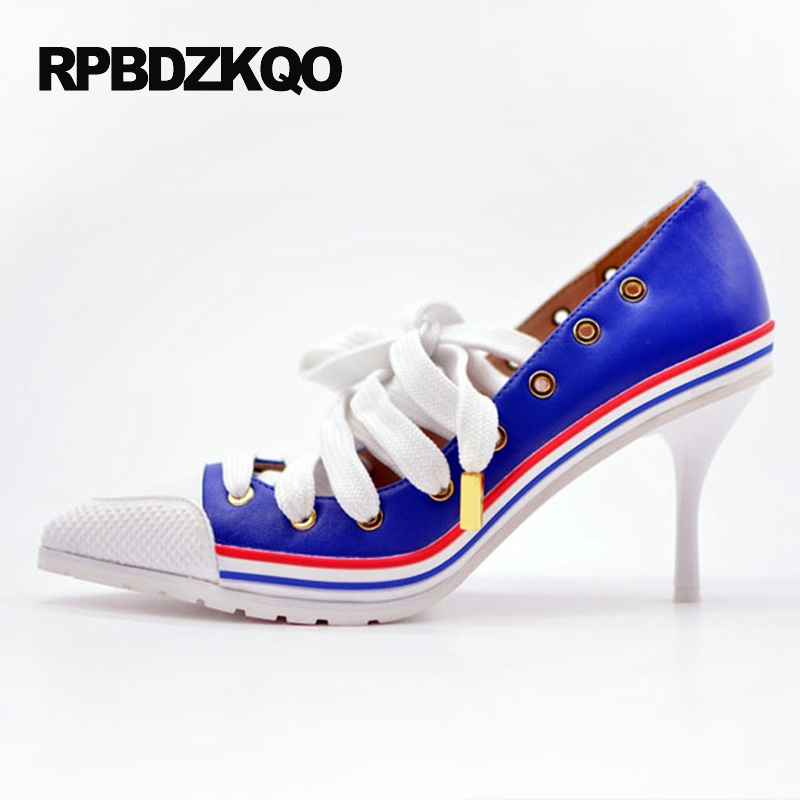 Multi Colored High Heels Sneakers Stiletto Ladies Luxury Scarpin Denim Blue Genuine Leather Lace Up Top Quality Pointed Toe