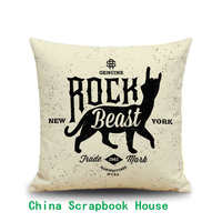 PANFELOU 45*45cm environmental Rock Beast Black and white silhouette Pillow Case for livingroom bedroom settee