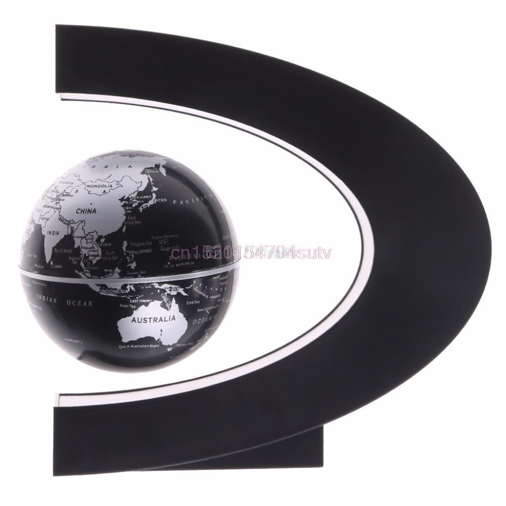 C Shape Magnetic Levitation Floating Globe World Map with LED Light US Plug Gift #H055#
