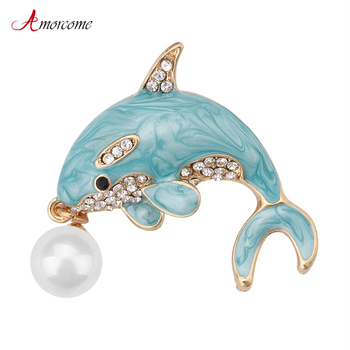 Amorcome Cute Light Blue Color Czech Crystal Dolphin Brooches Enamel Pin Fish Animal Pearl Brooch Beautiful Coat Fashion Jewelry