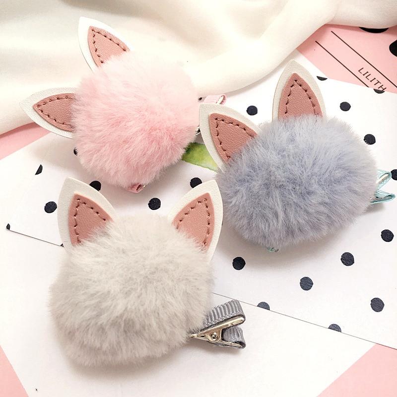 Korea Winter Hairpin Cartoon Rabbit Hair Clip For Girls Hairball Flower Colorful Barrettes Hair Bows Hair Accessories
