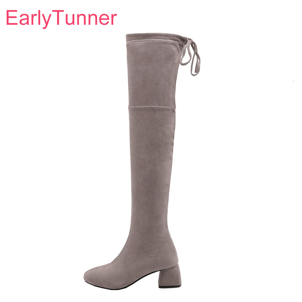 Brand New Quality Suede Gray Black Women Thigh High Dress Boots Sexy High Heels Lady Shoes EH28 Plus Big Size 10 28 45 52Brand New Quality Suede Gray Black Women Thigh High Dress Boots Sexy High Heels Lady Shoes EH28 Plus Big Size 10 28 45 52