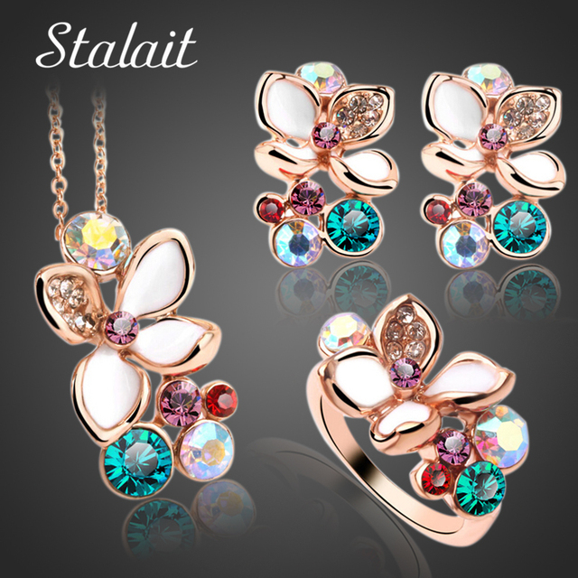 Fashion Multi Color Flower Crystal Rhinestone Gold Color Pendant Necklace/Earrin
