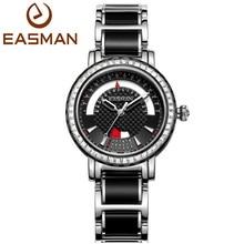 EASMAN Women Black Ceramic Steel Watch Date and Day Quartz  Watch Zircon Gems 50M Waterproof Ladies Watches Women Wristwatches