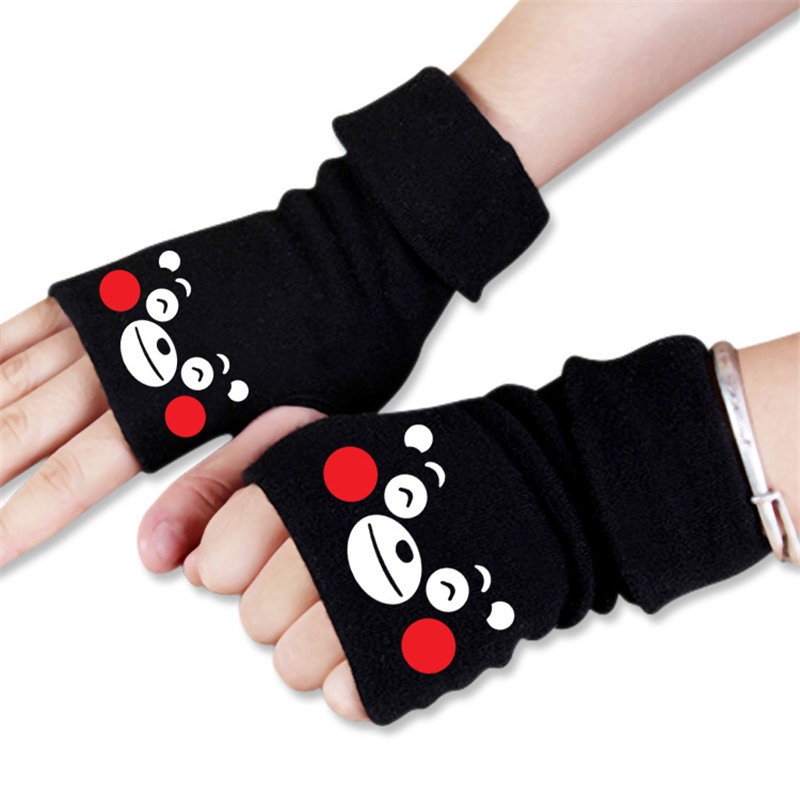 New Men Women Anime Cartoon Kumamon Bear Style Winter Warm Half Finger Glove Cosplay Accessories