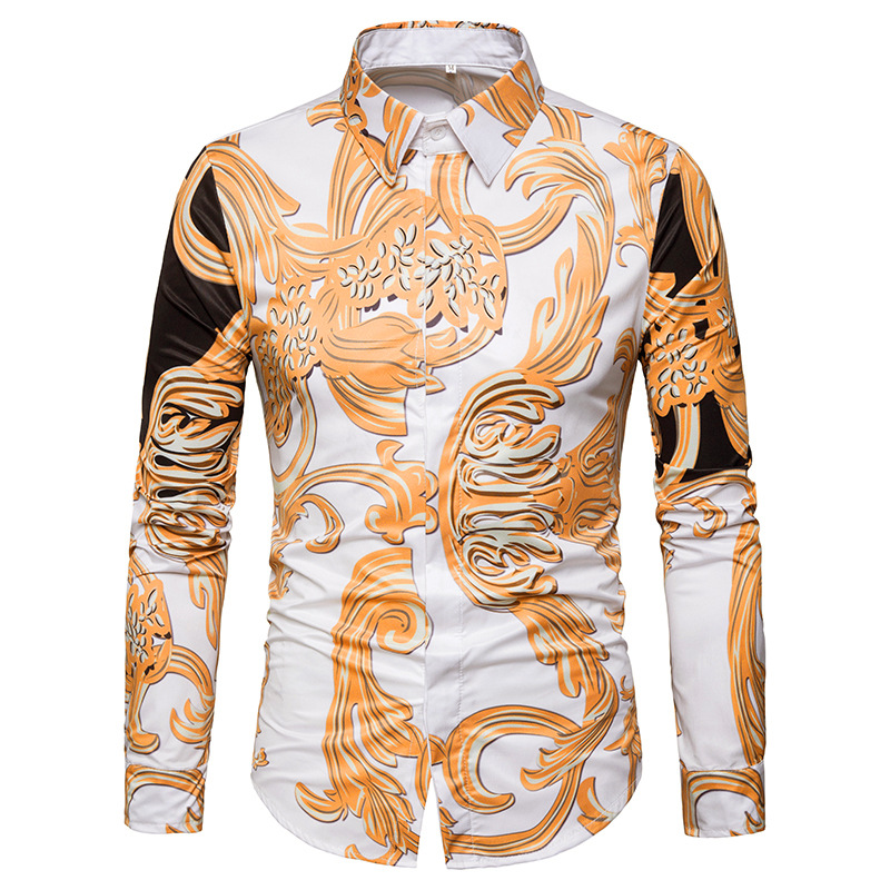2019 Men's Spring New Shirt Personality Casual Men Breathable British Fashion 3D Print Cotton Dress Long-Sleeved Shirt Add Size