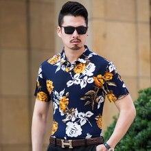 Mens Korean Shirts Summer Short Sleeve Plus Size 6XL 7XL High Quality Social Mercerized Cotton Hawaiian Beach Dress Male