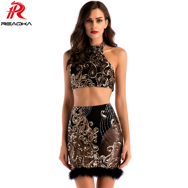 65d19f3573aa 2018 Sexy Women Two Two Piece Sequins Summer Dress Plush Black Gold Backless  Bodycon Luxury Nightclub Party Dresses Vestidos