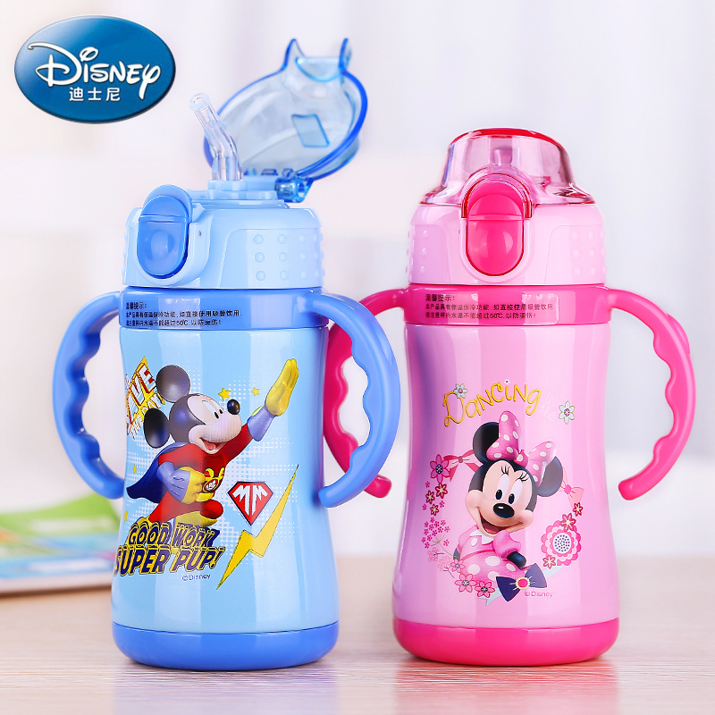 Disney Water Bottle Thermos Cup Milk Bottles Vacuum Flasks With Handgrip Straw Cups Cartoon Portable Water