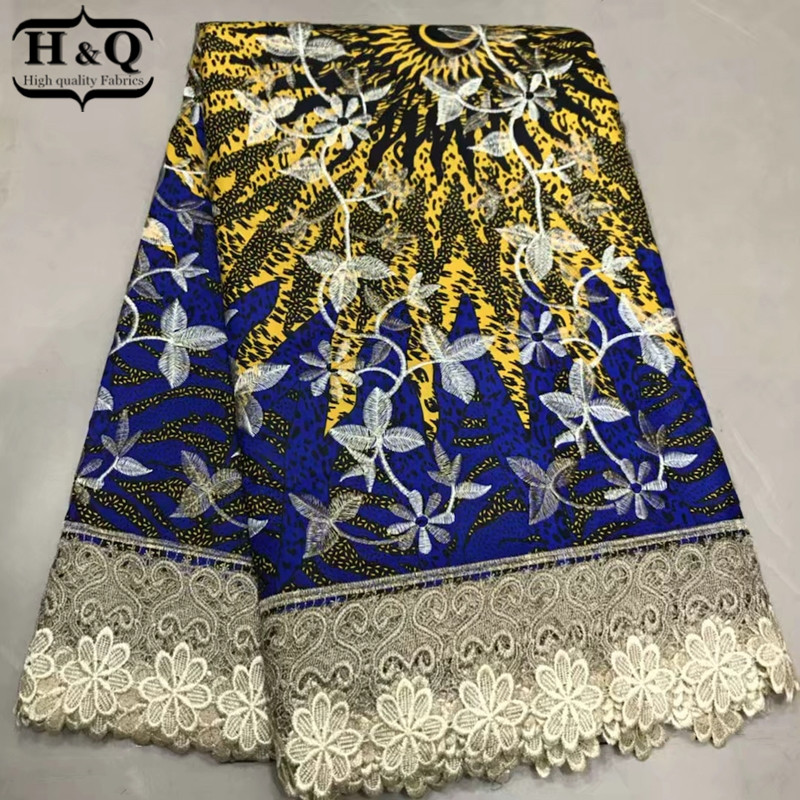 H Q Latest wax lace design african prints fabric cotton wax laces fabric 6 yards lot