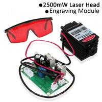 450nm 2500mW High Power Focusing Blue Laser Module TTL 12V DIY CNC Cutting Laser Engraver Accessories 2.5W + Goggles