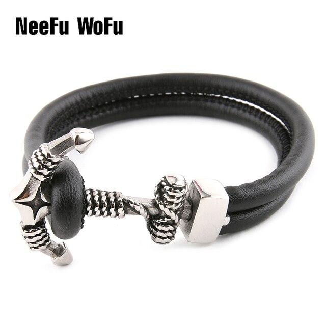 8859b907cec9 Hombre pulseras de cuero envuelto pulsera ancla encanto de lujo moda marca  pulsera DIY al por