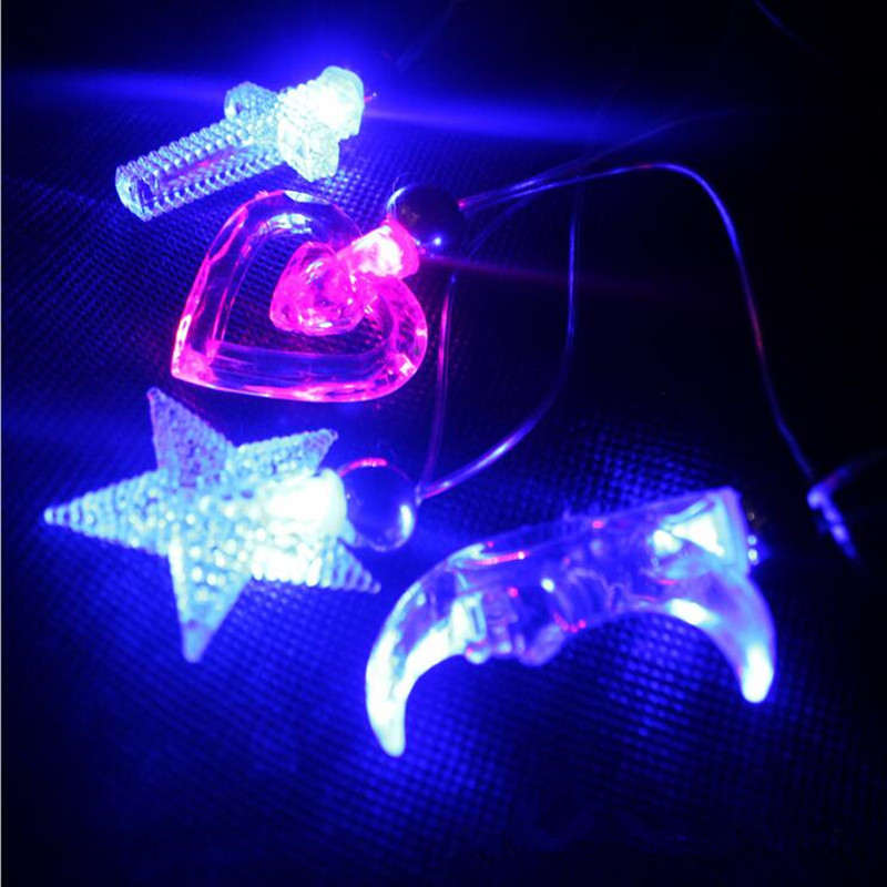 2018 New 10PCS/LOT LED Light Moon Star Pendant Necklace Flashing Necklace Dance Party Supplies Glow Necklace Hallowmas