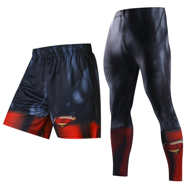3D Print Men Running Sets Summer Shorts Skinny 3D Pattern Superman Bodybuilding Jogger Fitness Skinny Leggings Trousers camouflage pattern running leggings