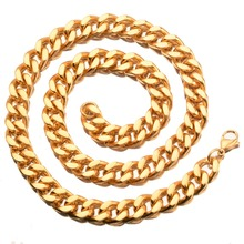 Personality Design New Stainless Steel Gold Cuban Curb Link Chain Men's Women's Daily Jewelry Necklace Or Bracelet 9mm 7-40inch