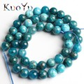 A+ Natural Blue Apatite Gem Stone Beads Smooth Round Loose Beads 15'' 6/8/10mm For Jewelry Making DIY Bracelet Pendant Necklace